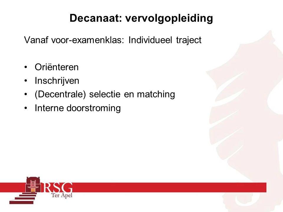 Decanaat: vervolgopleiding Vanaf voor-examenklas: Individueel traject Oriënteren Inschrijven (Decentrale) selectie en matching Interne doorstroming