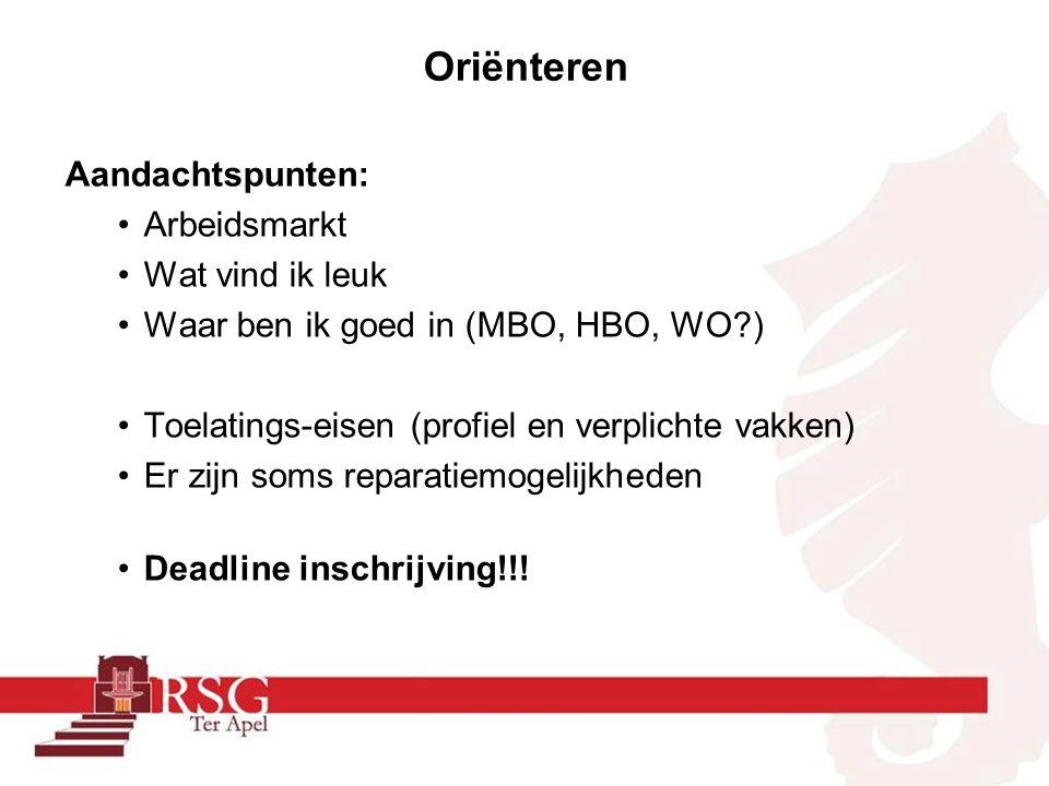 Oriënteren (hoe) –Onderwijsbeurs Zwolle (4 en 5 november 2015) –Oriënteren via Qompas Studiekeuze123.nl Websites HBO's en Universiteiten (brochures) –Open dagen bezoeken –Meeloopdag organiseren (inschrijven via websites) –Individuele meeloopdag verdient de voorkeur –Beroepsoriëntatie