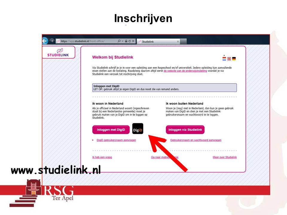 Inschrijven www.studielink.nl