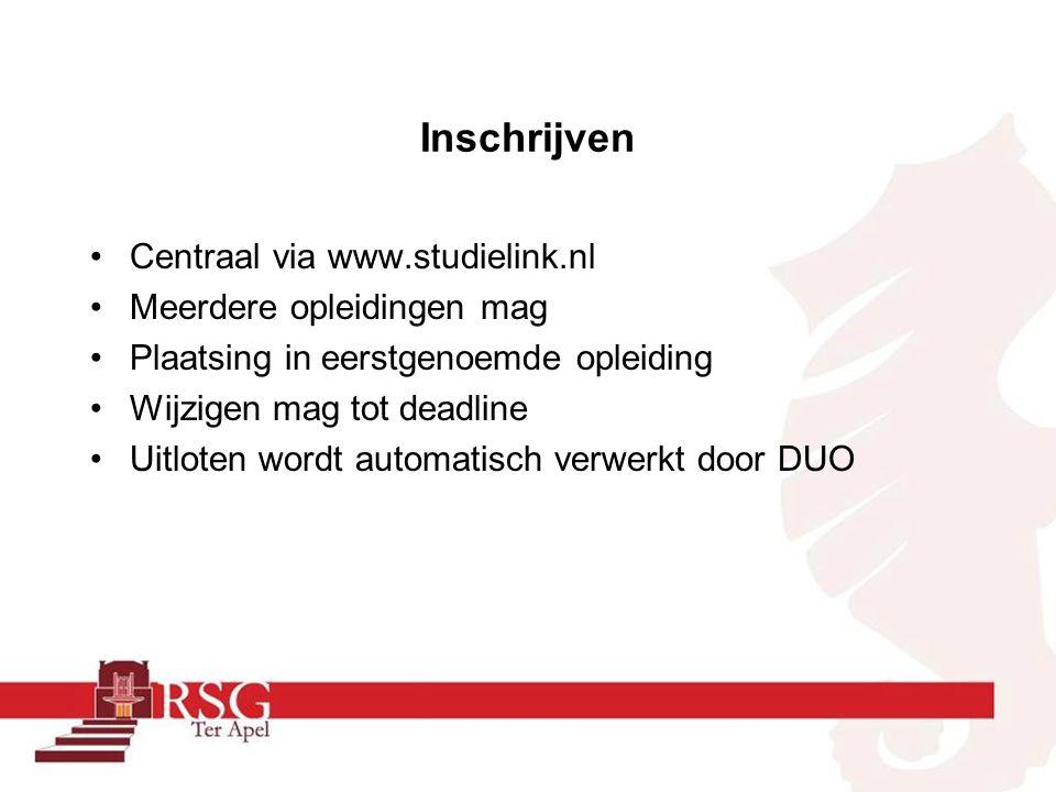 Inschrijven Centraal via www.studielink.nl Meerdere opleidingen mag Plaatsing in eerstgenoemde opleiding Wijzigen mag tot deadline Uitloten wordt automatisch verwerkt door DUO