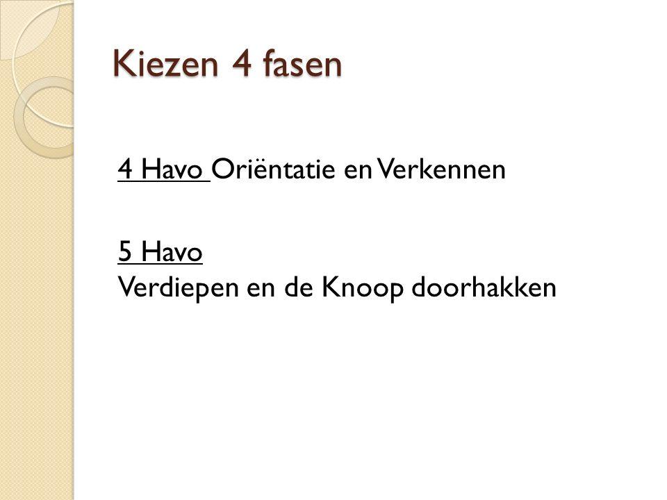 4 Havo Oriëntatie en Verkennen 5 Havo Verdiepen en de Knoop doorhakken Kiezen 4 fasen