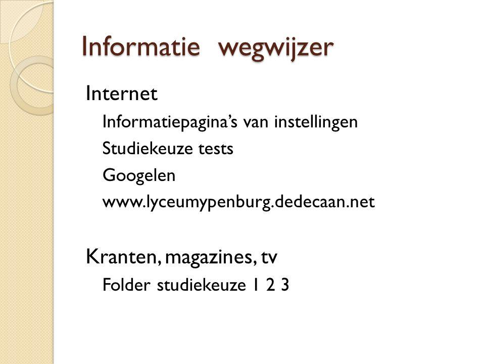 Informatie wegwijzer Internet Informatiepagina's van instellingen Studiekeuze tests Googelen www.lyceumypenburg.dedecaan.net Kranten, magazines, tv Fo
