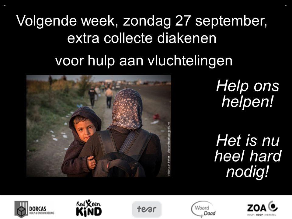 .... Volgende week, zondag 27 september, extra collecte diakenen voor hulp aan vluchtelingen Help ons helpen! Het is nu heel hard nodig!