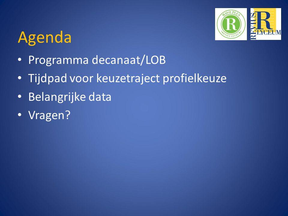 Agenda Programma decanaat/LOB Tijdpad voor keuzetraject profielkeuze Belangrijke data Vragen