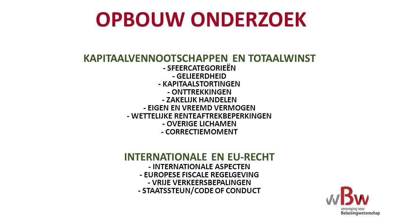 THEMA'S VAN TOTAALWINST - SYMMETRIE - CONSISTENTIE - ONDERLINGE INCONSISTENTIES - CONSISTENTIES TUSSEN ONDERDELEN - ONDERNEMERSCHAP EN WINST - HUWELIJKSGOEDERENREGIME - OBJECTIEVE VRIJSTELLINGEN - KOSTEN/BATEN EN PRIVÉSFEER - ONZAKELIJKE LENINGEN - HYBRIDE LENINGEN - RENTEAFTREKBEPERKINGEN - EENDUIDIGHEID EN TOEPASSING - COMPARTIMENTERING - VERLIESCOMPENSATIE - DOORSCHUIVING - INTERNATIONALE ASPECTEN - EUROPEESRECHTELIJKE ASPECTEN