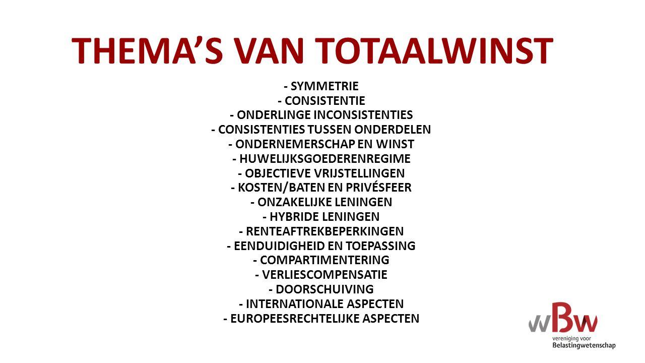 THEMA'S VAN TOTAALWINST - SYMMETRIE - CONSISTENTIE - ONDERLINGE INCONSISTENTIES - CONSISTENTIES TUSSEN ONDERDELEN - ONDERNEMERSCHAP EN WINST - HUWELIJ