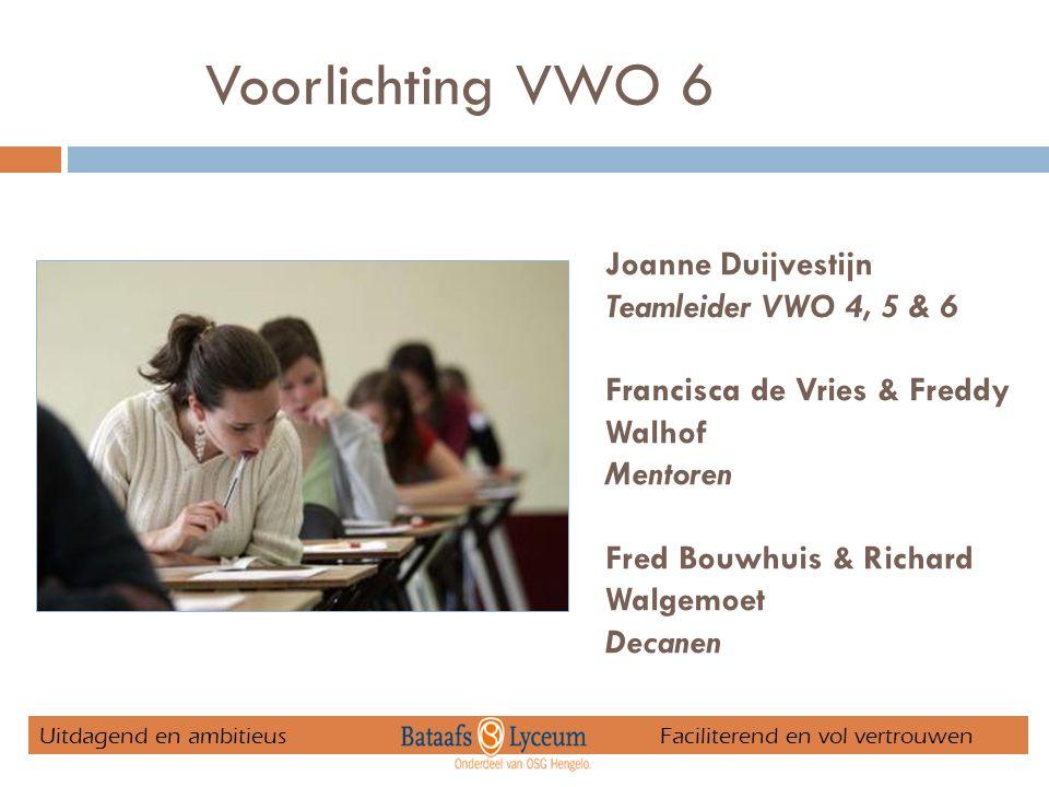 Voorlichting VWO 6 Joanne Duijvestijn Teamleider VWO 4, 5 & 6 Francisca de Vries & Freddy Walhof Mentoren Fred Bouwhuis & Richard Walgemoet Decanen Uitdagend en ambitieus Faciliterend en vol vertrouwen