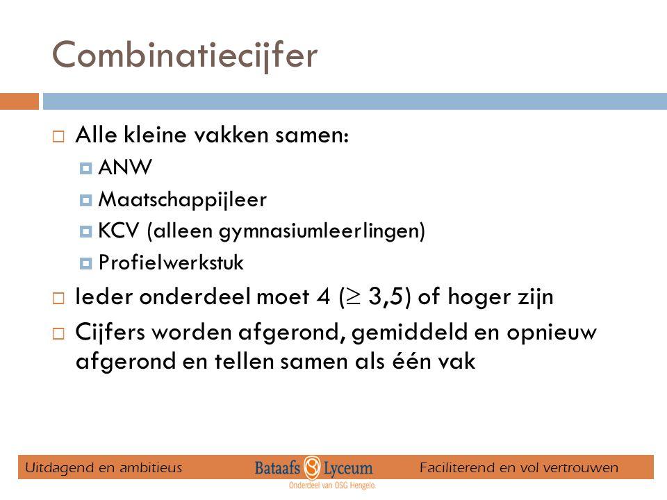 Combinatiecijfer  Alle kleine vakken samen:  ANW  Maatschappijleer  KCV (alleen gymnasiumleerlingen)  Profielwerkstuk  Ieder onderdeel moet 4 (  3,5) of hoger zijn  Cijfers worden afgerond, gemiddeld en opnieuw afgerond en tellen samen als één vak Uitdagend en ambitieus Faciliterend en vol vertrouwen