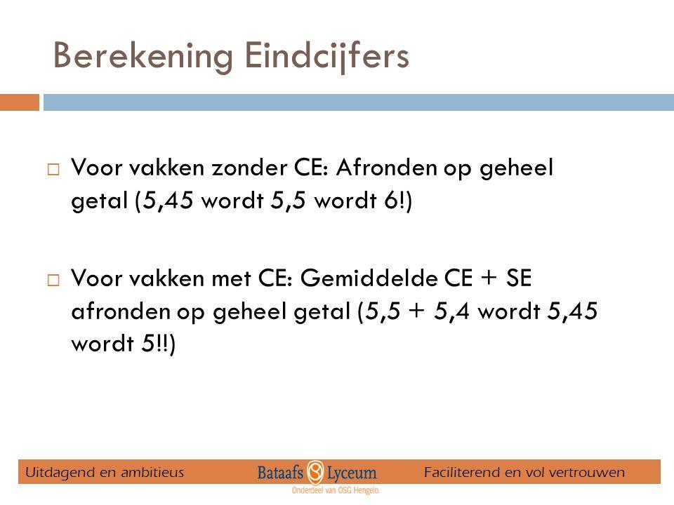 Berekening Eindcijfers  Voor vakken zonder CE: Afronden op geheel getal (5,45 wordt 5,5 wordt 6!)  Voor vakken met CE: Gemiddelde CE + SE afronden op geheel getal (5,5 + 5,4 wordt 5,45 wordt 5!!) Uitdagend en ambitieus Faciliterend en vol vertrouwen