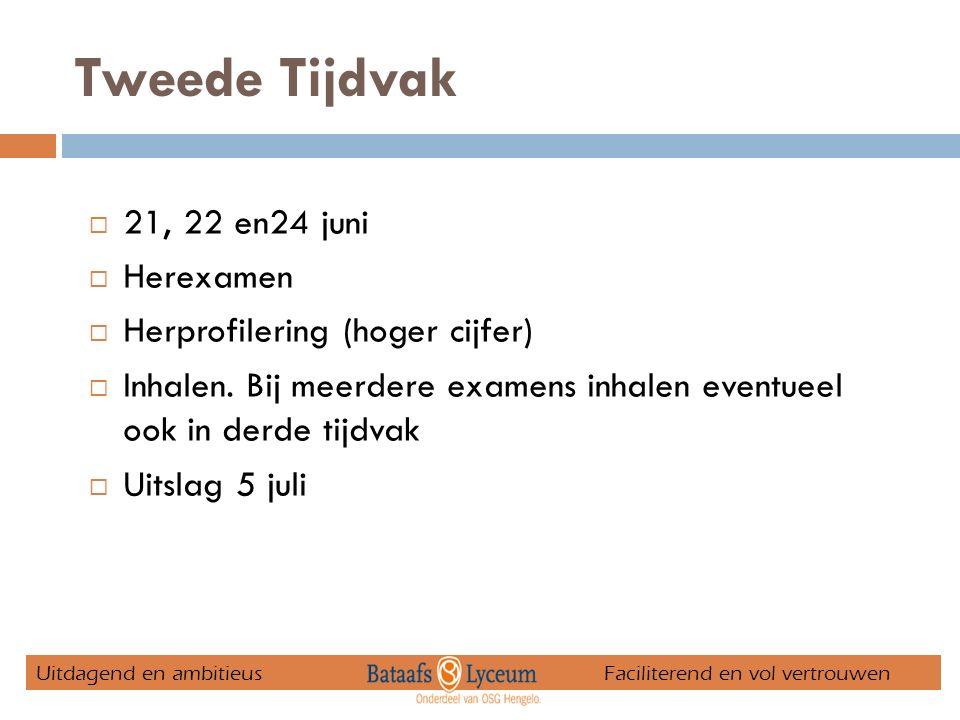 Tweede Tijdvak  21, 22 en24 juni  Herexamen  Herprofilering (hoger cijfer)  Inhalen.
