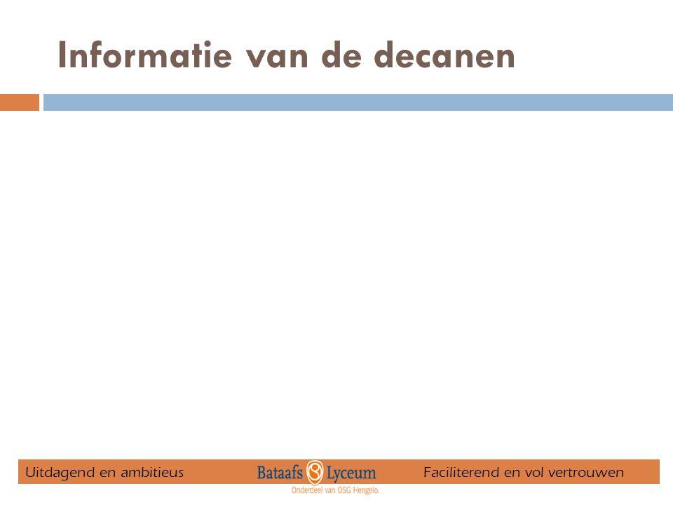 Informatie van de decanen Uitdagend en ambitieus Faciliterend en vol vertrouwen