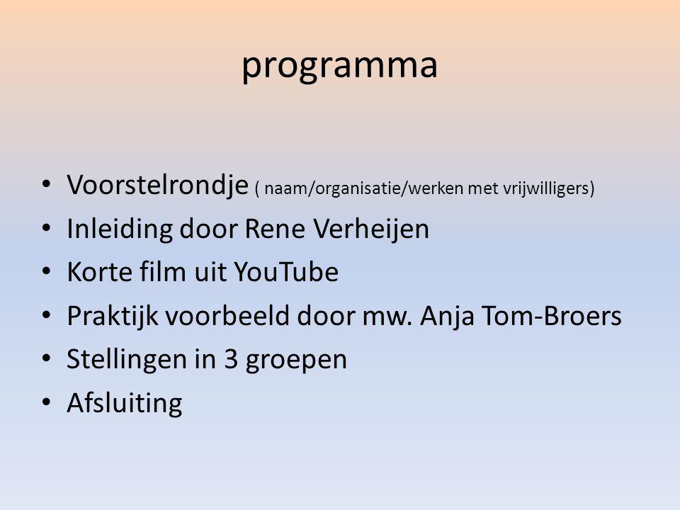 programma Voorstelrondje ( naam/organisatie/werken met vrijwilligers) Inleiding door Rene Verheijen Korte film uit YouTube Praktijk voorbeeld door mw.