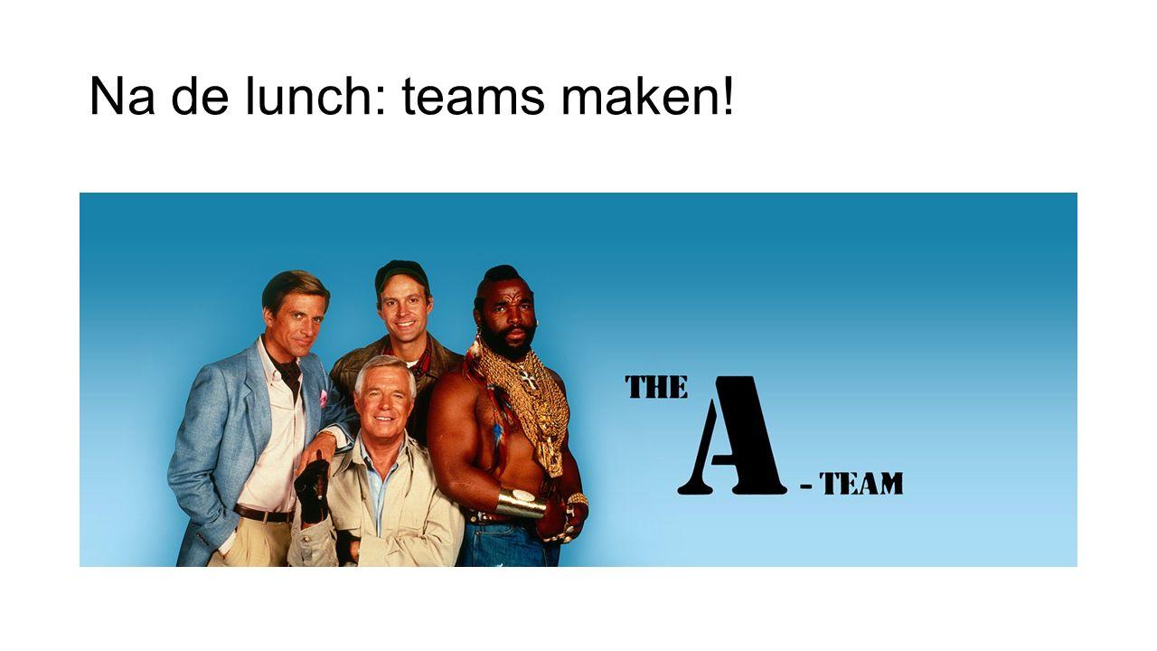 Na de lunch: teams maken!