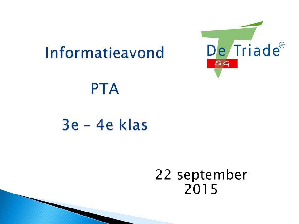 Informatieavond PTA 3e – 4e klas 22 september 2015