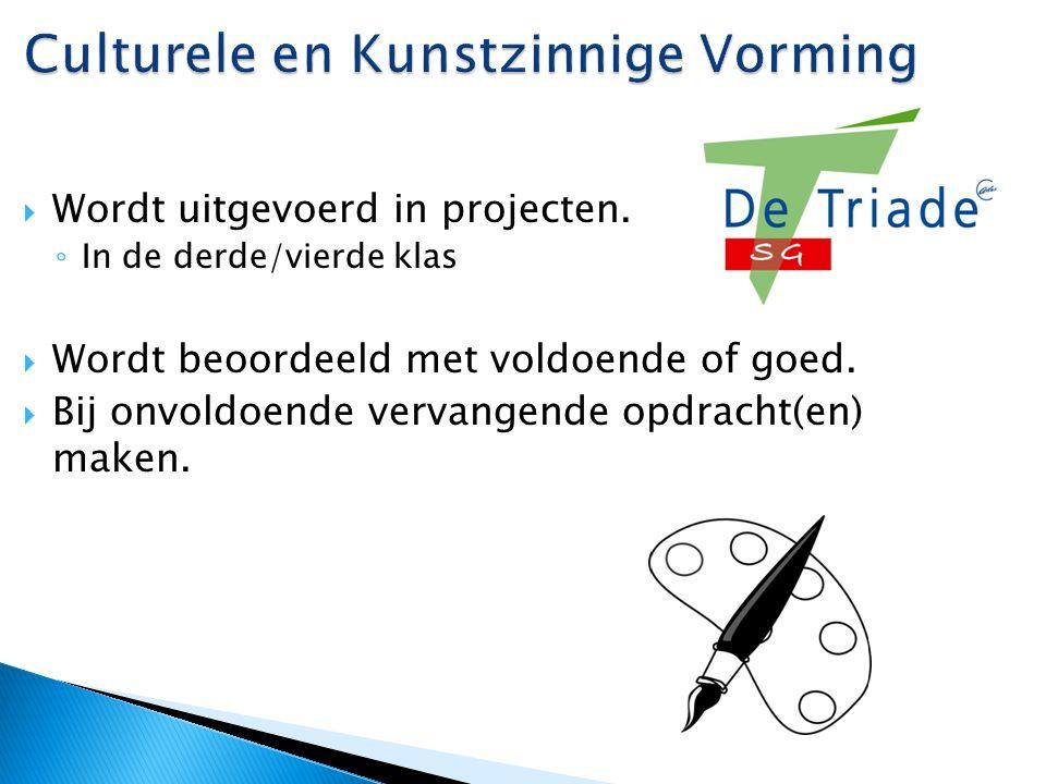 Culturele en Kunstzinnige Vorming  Wordt uitgevoerd in projecten.
