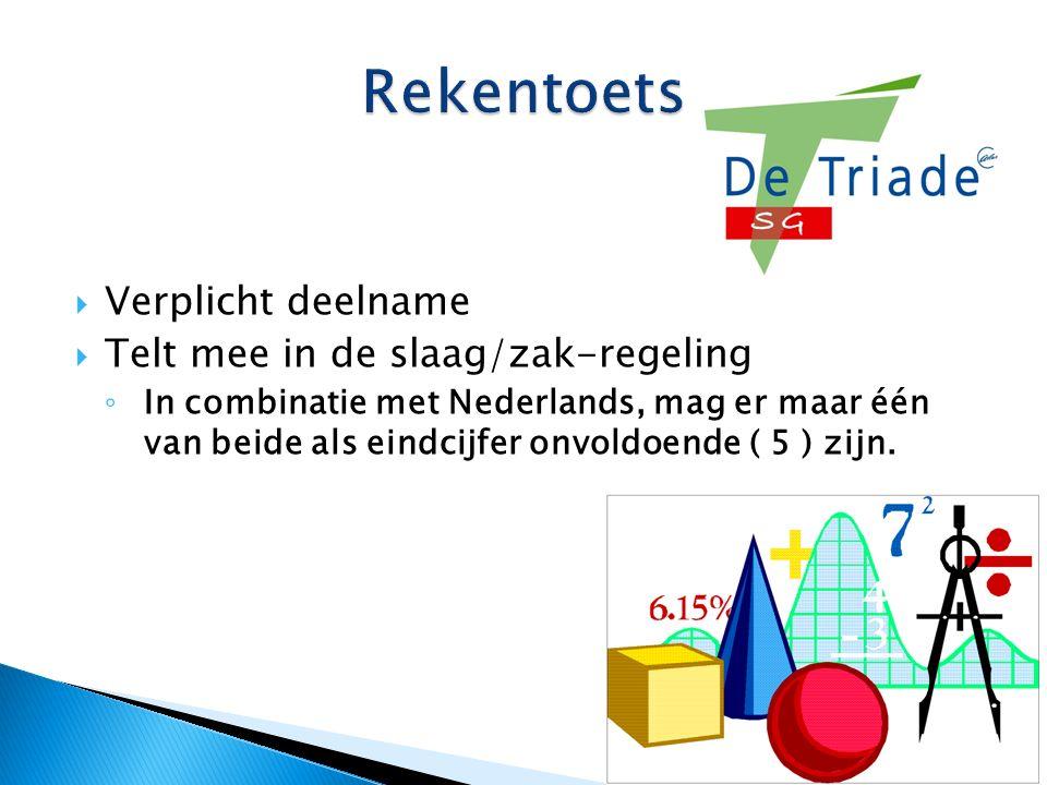 Verplicht deelname  Telt mee in de slaag/zak-regeling ◦ In combinatie met Nederlands, mag er maar één van beide als eindcijfer onvoldoende ( 5 ) zijn.