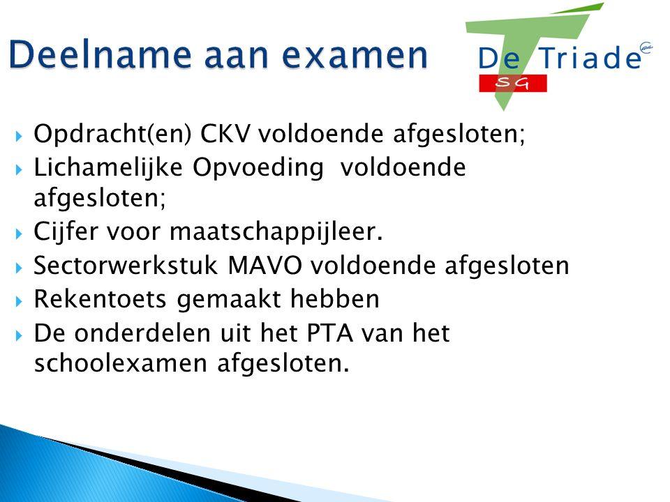 Deelname aan examen  Opdracht(en) CKV voldoende afgesloten;  Lichamelijke Opvoeding voldoende afgesloten;  Cijfer voor maatschappijleer.