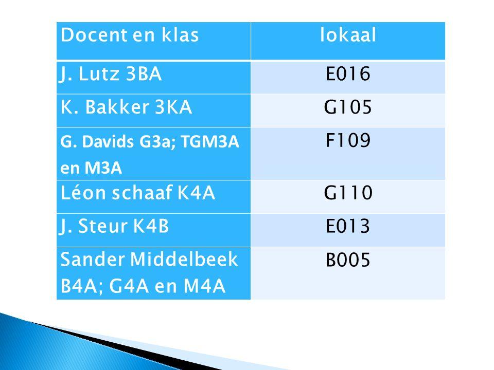 Docent en klaslokaal J. Lutz 3BAE016 K. Bakker 3KAG105 G.