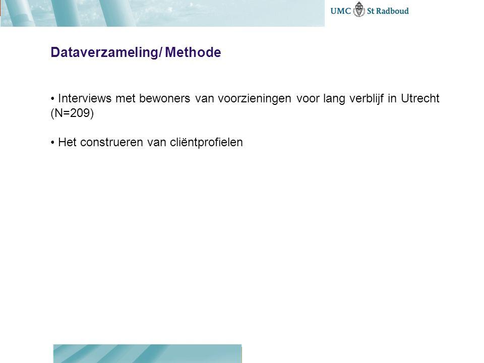 Dataverzameling/ Methode Interviews met bewoners van voorzieningen voor lang verblijf in Utrecht (N=209) Het construeren van cliëntprofielen