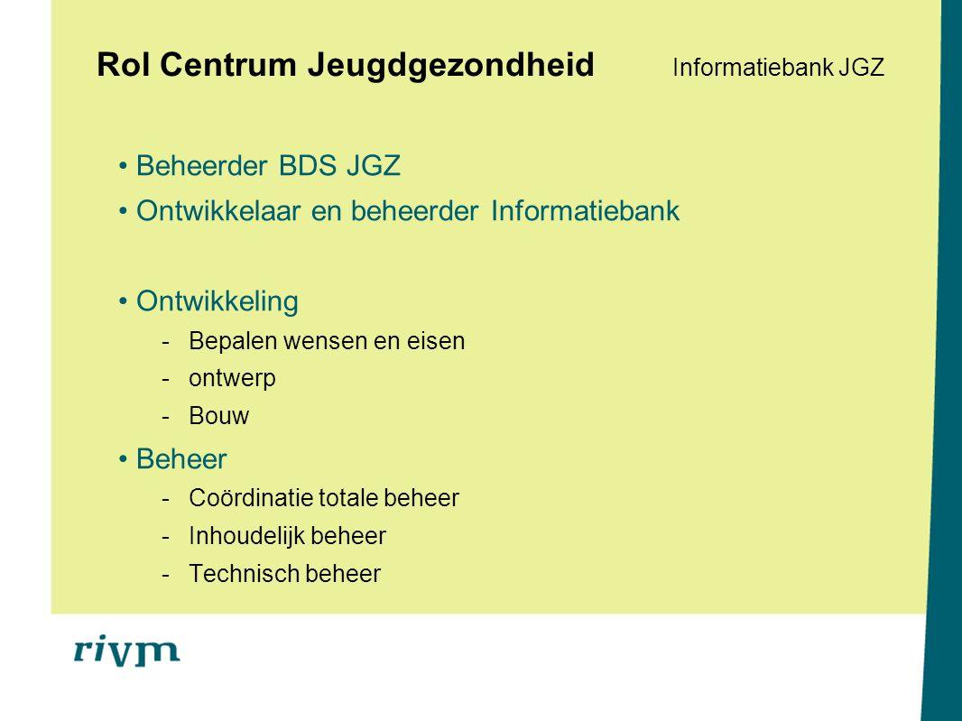 Rol Centrum Jeugdgezondheid Informatiebank JGZ Beheerder BDS JGZ Ontwikkelaar en beheerder Informatiebank Ontwikkeling -Bepalen wensen en eisen -ontwerp -Bouw Beheer -Coördinatie totale beheer -Inhoudelijk beheer -Technisch beheer