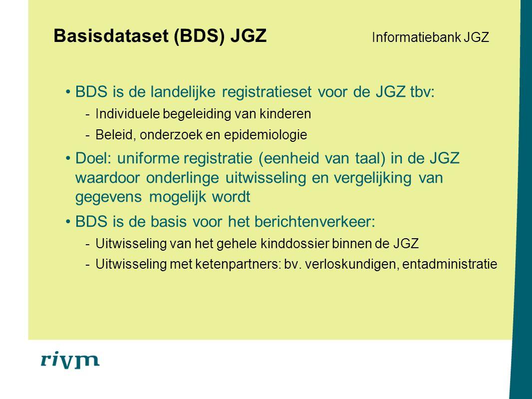 Informatiebank Informatiebank JGZ Landelijke centrale databank met gegevens uit de Digitale JGZ-Dossiers -Gestandaardiseerde gegevens conform BDS -Vulling d.m.v.