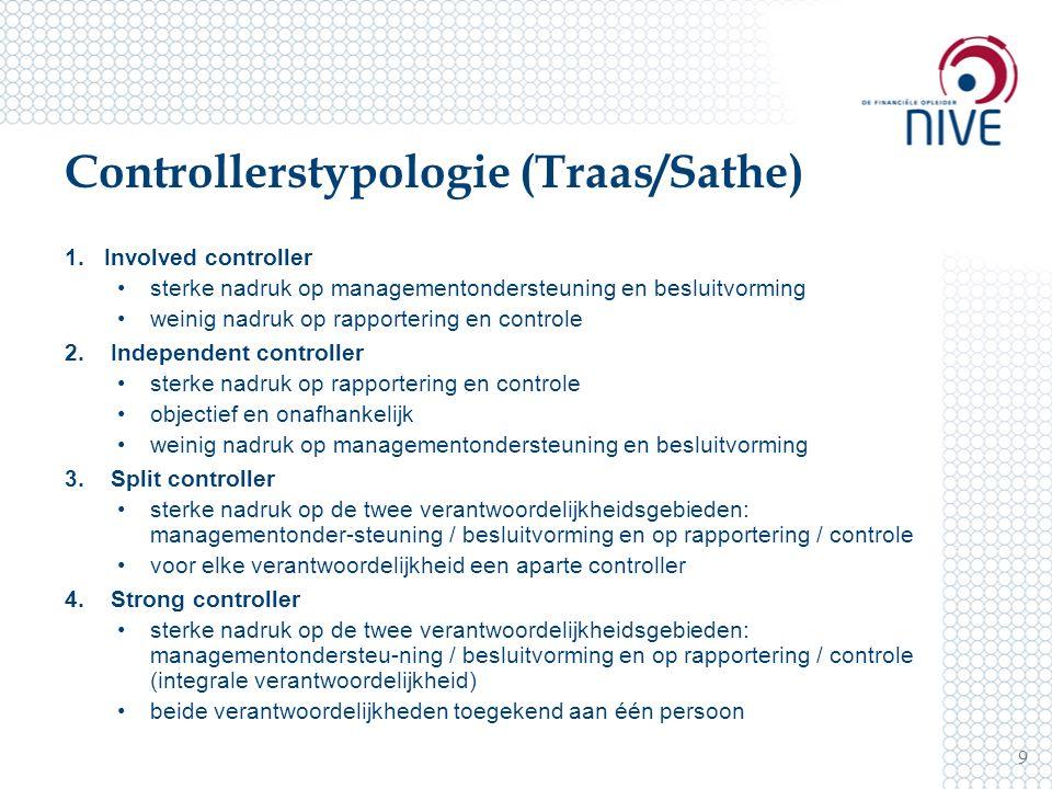 Controllerstypologie (Traas/Sathe) 1.Involved controller sterke nadruk op managementondersteuning en besluitvorming weinig nadruk op rapportering en c