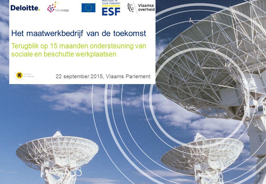 Terugblik op 15 maanden ondersteuning van sociale en beschutte werkplaatsen 22 september 2015, Vlaams Parlement Het maatwerkbedrijf van de toekomst
