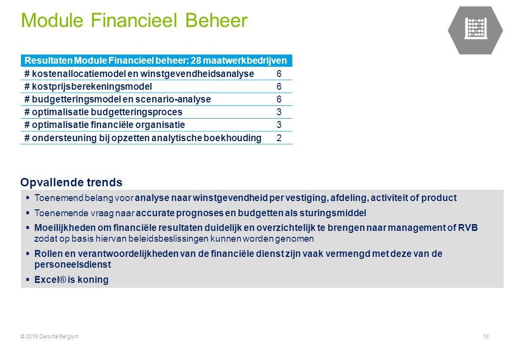 © 2015 Deloitte Belgium10 Resultaten Module Financieel beheer: 28 maatwerkbedrijven # kostenallocatiemodel en winstgevendheidsanalyse6 # kostprijsberekeningsmodel6 # budgetteringsmodel en scenario-analyse6 # optimalisatie budgetteringsproces3 # optimalisatie financiële organisatie3 # ondersteuning bij opzetten analytische boekhouding2  Toenemend belang voor analyse naar winstgevendheid per vestiging, afdeling, activiteit of product  Toenemende vraag naar accurate prognoses en budgetten als sturingsmiddel  Moeilijkheden om financiële resultaten duidelijk en overzichtelijk te brengen naar management of RVB zodat op basis hiervan beleidsbeslissingen kunnen worden genomen  Rollen en verantwoordelijkheden van de financiële dienst zijn vaak vermengd met deze van de personeelsdienst  Excel® is koning Opvallende trends Module Financieel Beheer