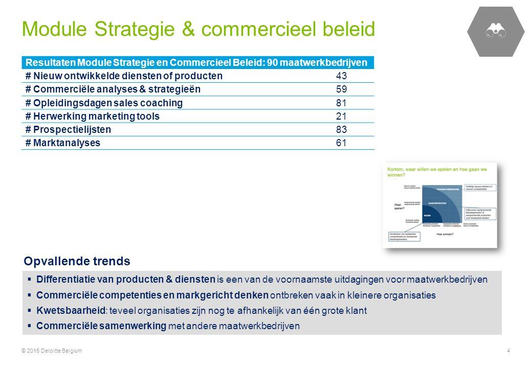 Resultaten Module Strategie en Commercieel Beleid: 90 maatwerkbedrijven # Nieuw ontwikkelde diensten of producten43 # Commerciële analyses & strategie