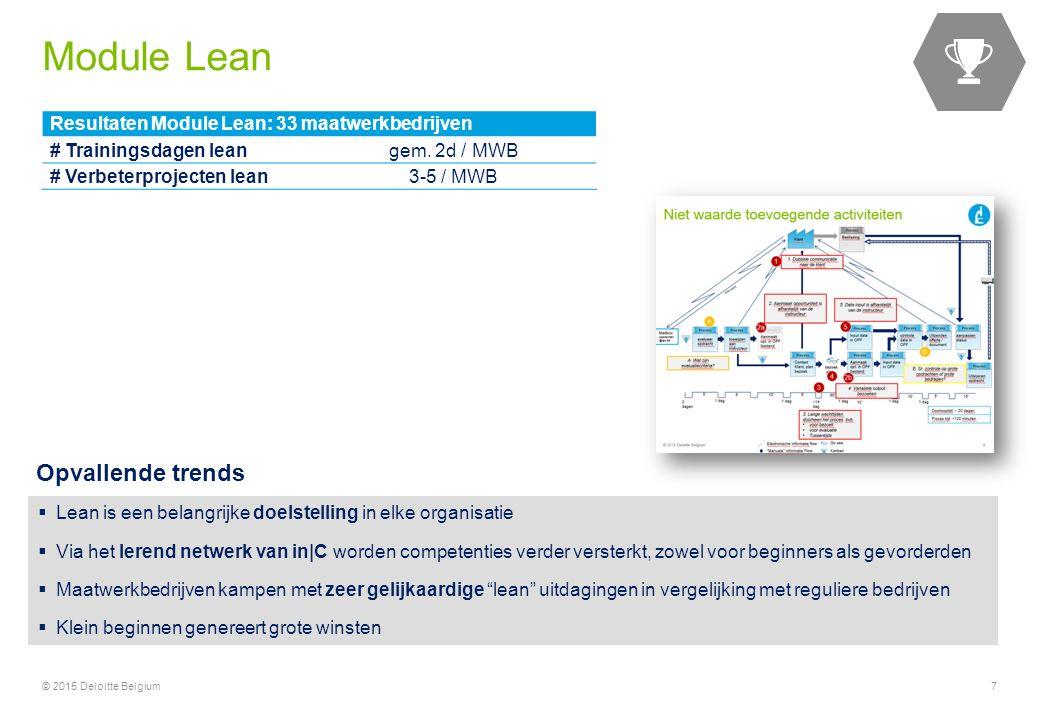 7 Resultaten Module Lean: 33 maatwerkbedrijven # Trainingsdagen leangem. 2d / MWB # Verbeterprojecten lean3-5 / MWB  Lean is een belangrijke doelstel