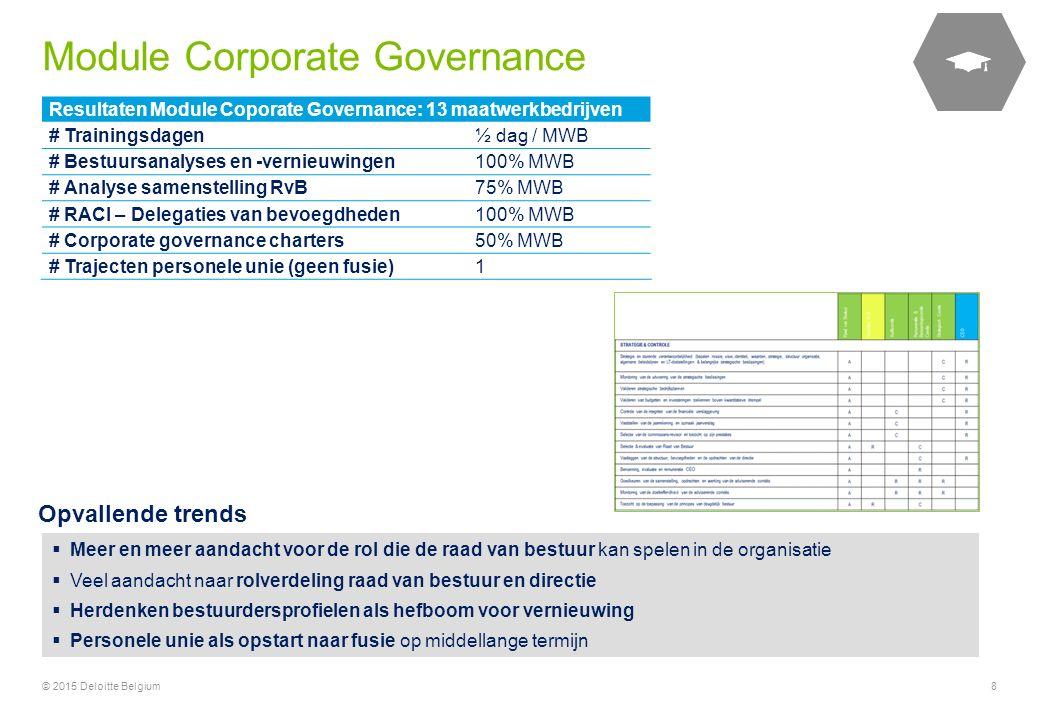 © 2015 Deloitte Belgium8 Resultaten Module Coporate Governance: 13 maatwerkbedrijven # Trainingsdagen½ dag / MWB # Bestuursanalyses en -vernieuwingen1