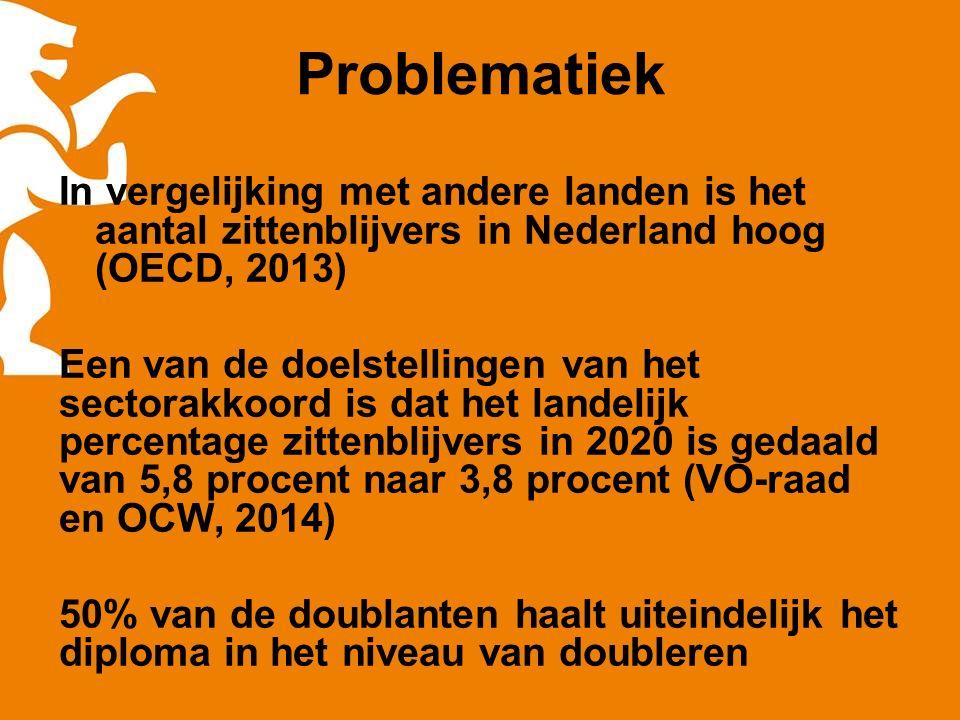 Problematiek In vergelijking met andere landen is het aantal zittenblijvers in Nederland hoog (OECD, 2013) Een van de doelstellingen van het sectorakkoord is dat het landelijk percentage zittenblijvers in 2020 is gedaald van 5,8 procent naar 3,8 procent (VO-raad en OCW, 2014) 50% van de doublanten haalt uiteindelijk het diploma in het niveau van doubleren