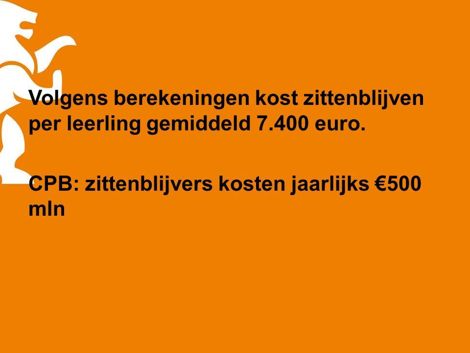 Volgens berekeningen kost zittenblijven per leerling gemiddeld 7.400 euro. CPB: zittenblijvers kosten jaarlijks €500 mln