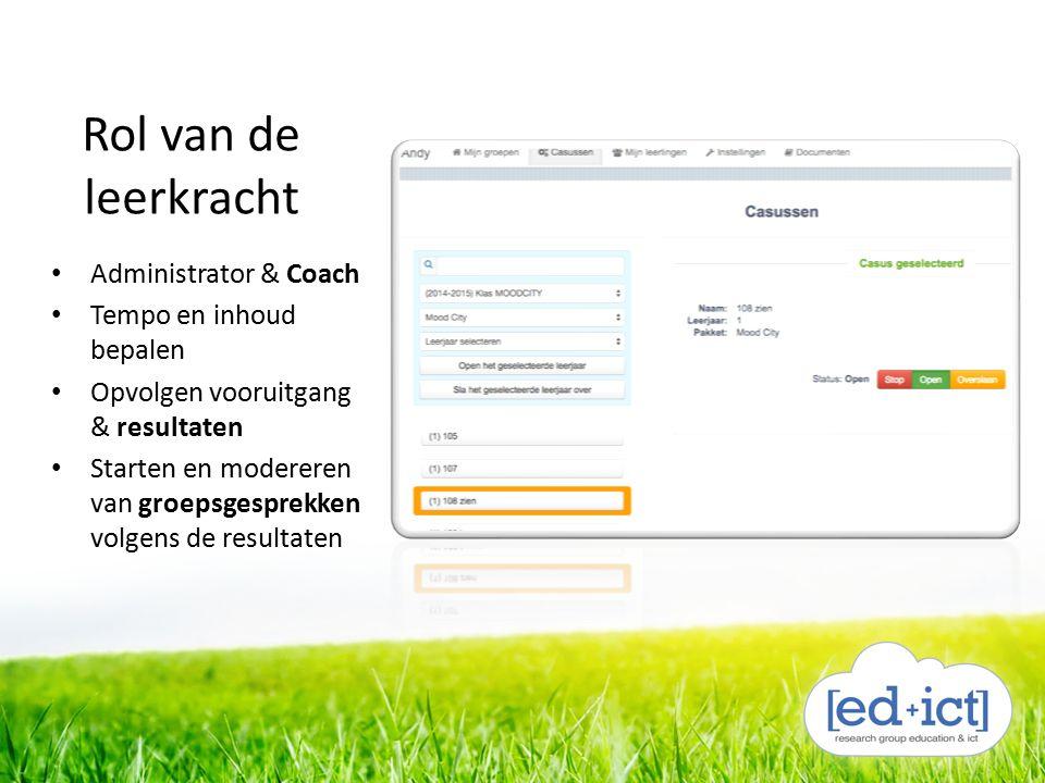Rol van de leerkracht Administrator & Coach Tempo en inhoud bepalen Opvolgen vooruitgang & resultaten Starten en modereren van groepsgesprekken volgen