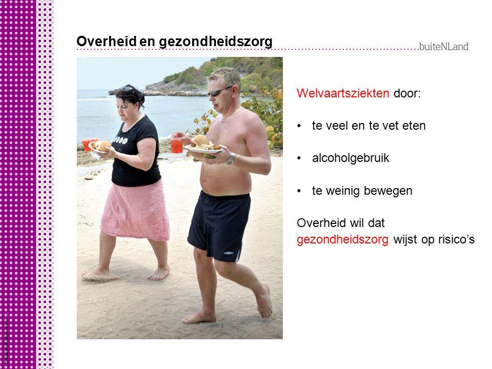 Overheid en gezondheidszorg Welvaartsziekten door: te veel en te vet eten alcoholgebruik te weinig bewegen Overheid wil dat gezondheidszorg wijst op r