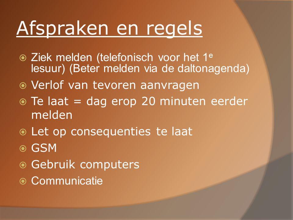 Afspraken en regels  Ziek melden (telefonisch voor het 1 e lesuur) (Beter melden via de daltonagenda)  Verlof van tevoren aanvragen  Te laat = dag