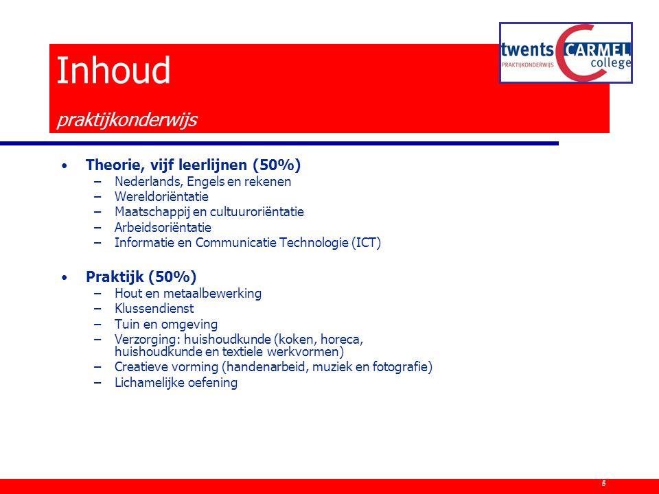 Theorie, vijf leerlijnen (50%) –Nederlands, Engels en rekenen –Wereldoriëntatie –Maatschappij en cultuuroriëntatie –Arbeidsoriëntatie –Informatie en C