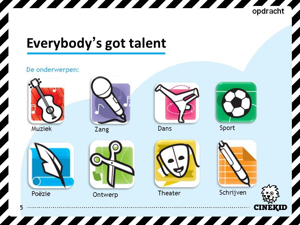 Everybody's got talent De onderwerpen: 5 Zang Dans Muziek Ontwerp Poëzie Schrijven Sport Theater