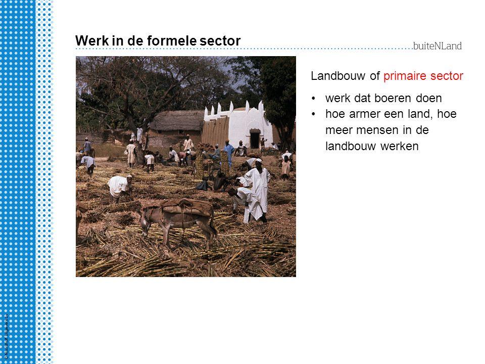 Werk in de formele sector werk dat boeren doen hoe armer een land, hoe meer mensen in de landbouw werken Landbouw of primaire sector