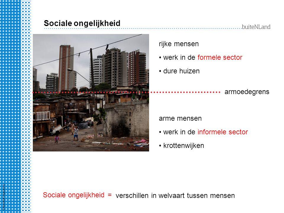 Sociale ongelijkheid armoedegrens rijke mensen werk in de formele sector dure huizen verschillen in welvaart tussen mensen arme mensen werk in de info