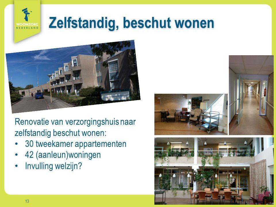 Woonzorg Zekerheid Samenzijn Rust Comfort Vrijheid Aanpak Zelfstandig, beschut wonen 13 Renovatie van verzorgingshuis naar zelfstandig beschut wonen: 30 tweekamer appartementen 42 (aanleun)woningen Invulling welzijn?