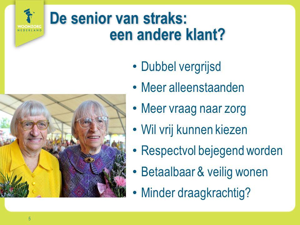 Woonzorg Zekerheid Samenzijn Rust Comfort Vrijheid Aanpak De senior van straks: een andere klant.