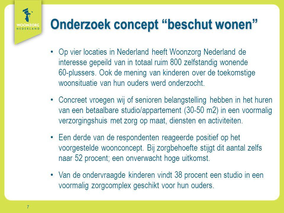 Woonzorg Zekerheid Samenzijn Rust Comfort Vrijheid Aanpak Onderzoek concept beschut wonen Op vier locaties in Nederland heeft Woonzorg Nederland de interesse gepeild van in totaal ruim 800 zelfstandig wonende 60-plussers.