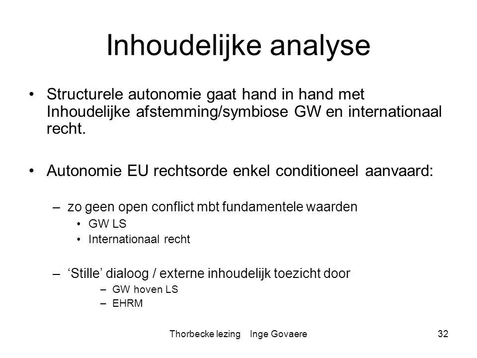 Thorbecke lezing Inge Govaere32 Inhoudelijke analyse Structurele autonomie gaat hand in hand met Inhoudelijke afstemming/symbiose GW en internationaal