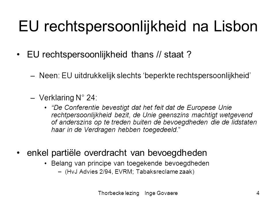 Thorbecke lezing Inge Govaere35 Dialoog met EHRM EU/EVRM: Communicerende vaten EHRM Matthews zaak (18 Februari 1999) –overdracht bevoegdheden LS naar EU // EVRM –op voorwaarde dat gelijkwaardige bescherming wordt verzekerd EHRM Bosphorus zaak (Bosphorus t.