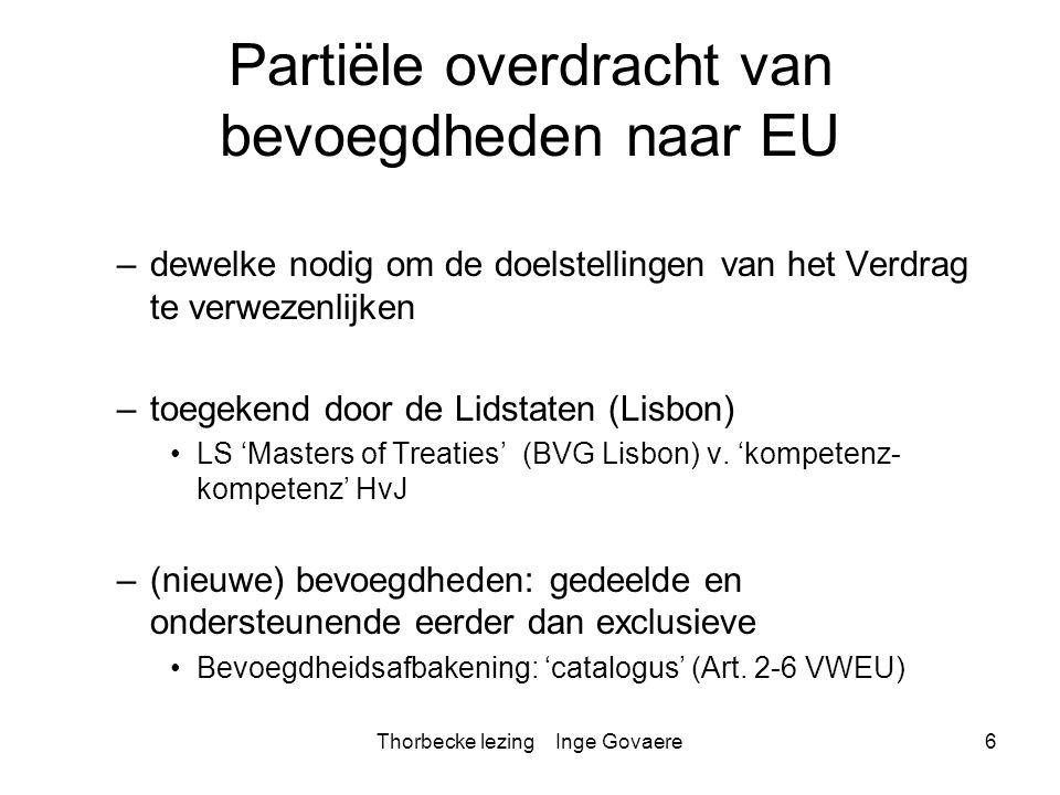 Thorbecke lezing Inge Govaere27 Extra-EU context Spanningsveld met geschillenbeslechting akkoorden/IO geschillenbeslechting met derde landen: –Principe: Internationale geschillenbeslechting »HvJ: Advies 1/76: gevolg v.
