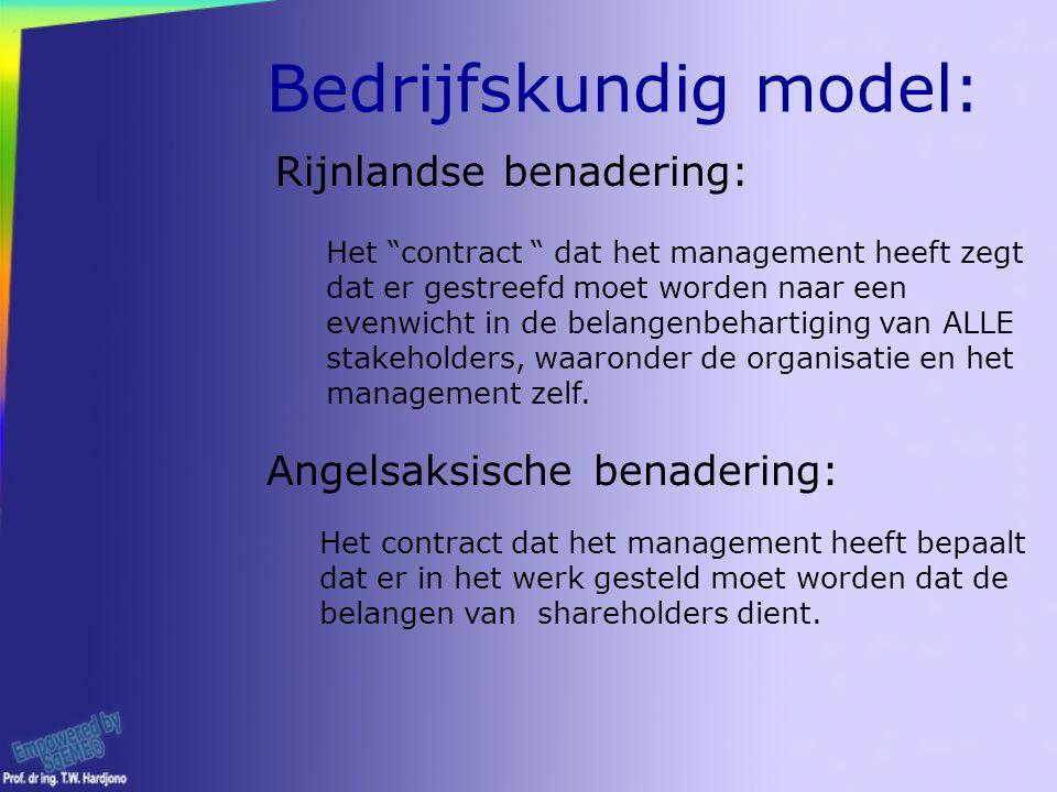 Bedrijfskundig model: Rijnlandse benadering: Het contract dat het management heeft zegt dat er gestreefd moet worden naar een evenwicht in de belangenbehartiging van ALLE stakeholders, waaronder de organisatie en het management zelf.