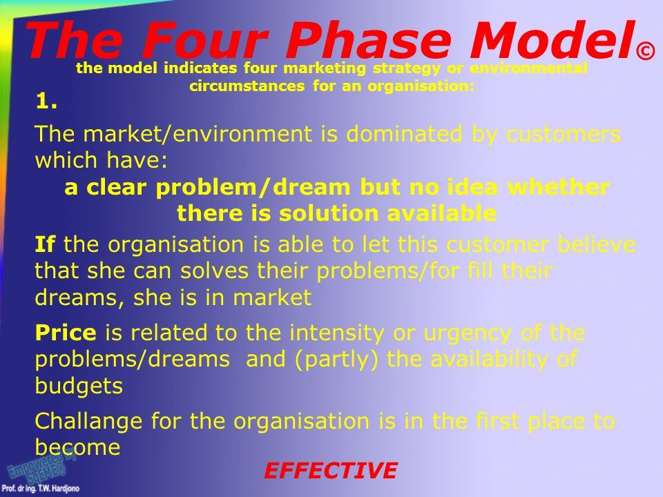 The Four Phase Model © the model indicates four marketing strategy or environmental circumstances for an organisation: The market/environment is dominated by customers which have: a clear problem/dream but no idea whether there is solution available If the organisation is able to let this customer believe that she can solves their problems/for fill their dreams, she is in market Price is related to the intensity or urgency of the problems/dreams and (partly) the availability of budgets Challange for the organisation is in the first place to become 1.