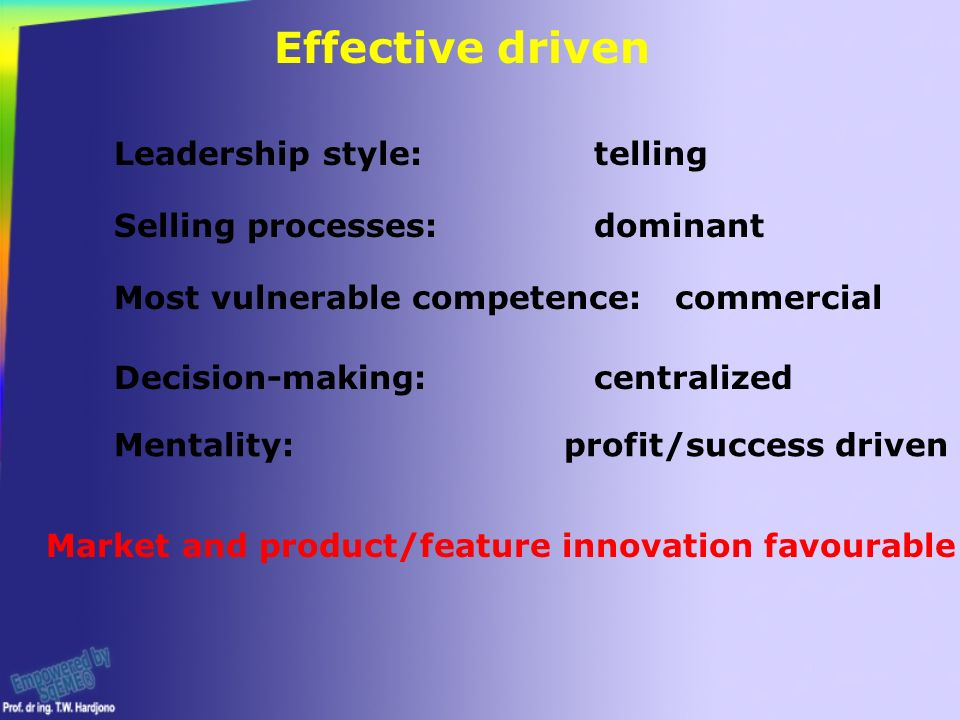 Leadership style:telling Selling processes:dominant Most vulnerable competence: commercial Decision-making: centralized Market and product/feature innovation favourable Effective driven Mentality: profit/success driven