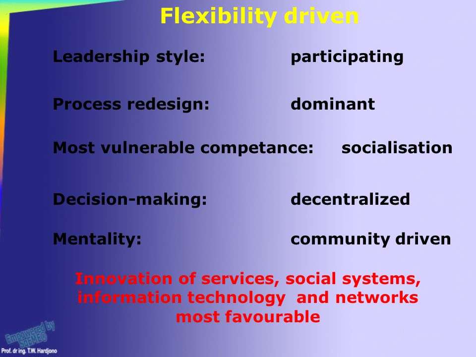 Leadership style:participating Process redesign:dominant Most vulnerable competance: socialisation Decision-making: decentralized Innovation of services, social systems, information technology and networks most favourable Flexibility driven Mentality:community driven